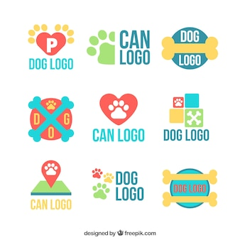 Selección colorida de logos de perros planos