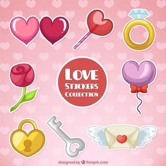 Selección colorida de pegatinas de amor