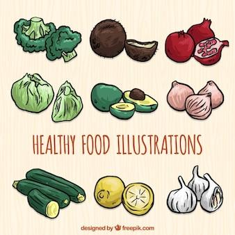 Selección de comida dibujada a mano