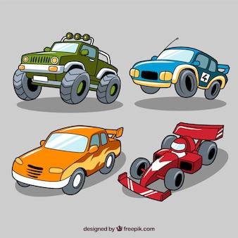 Selección de cuatro coches de carrera