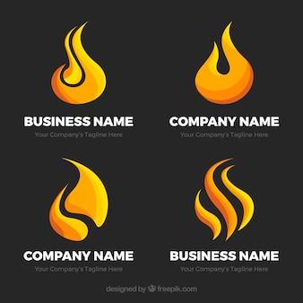 Selección de cuatro logos de llamas planos