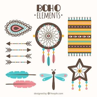 Selección de elementos boho planos con detalles azules y rosas