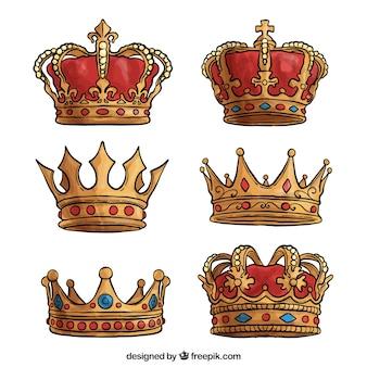 Selección dibujada a mano de coronas de lujo