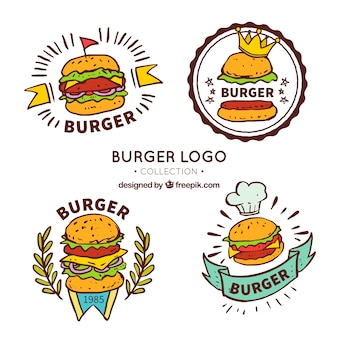 Selección dibujada a mano de cuatro logos de hamburguesas