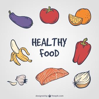 Selección dibujada a mano de varios alimentos