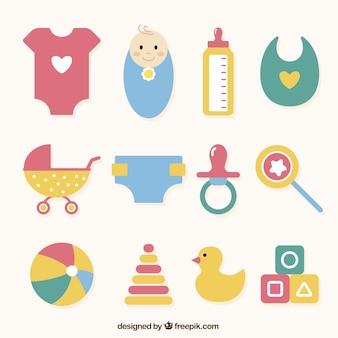 Selección de diferentes objetos de bebé en diseño plano