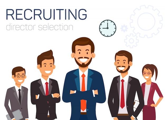 Selección de director de contratación. gente de negocios