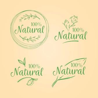 Selección de distintivos cien por cien natural