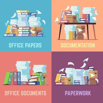Selección de documentos de oficina apilados