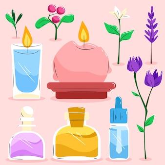 Selección de elementos de aromaterapia dibujados a mano