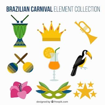 Selección de elementos del carnaval de brasil en diseño plano