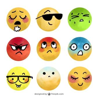 Selección de emoticonos de acuarela fantásticos