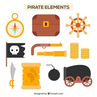 Selección fantástica de elementos pirata planos