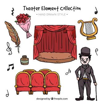 Selección fantástica de elementos de teatro dibujados a mano