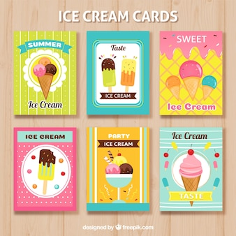 Selección de geniales tarjetas veraniegas con diferentes helados