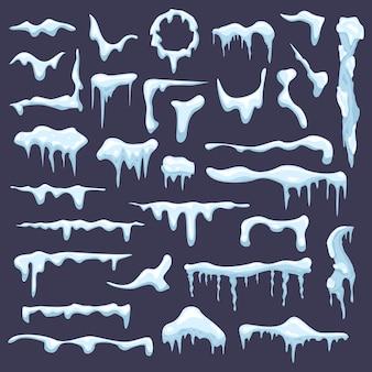 Selección de gorros de nieve y carámbanos.