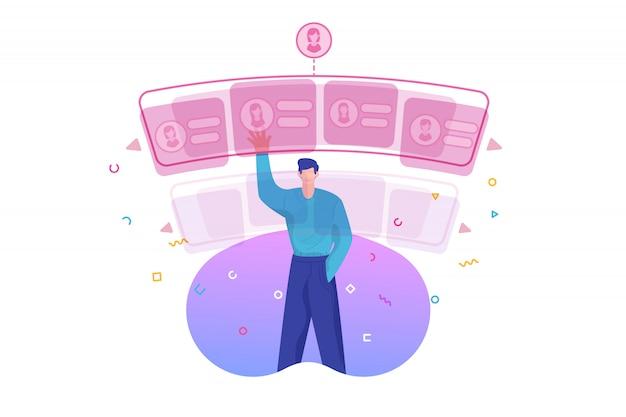Selección de hombre y pantalla virtual para citas online.
