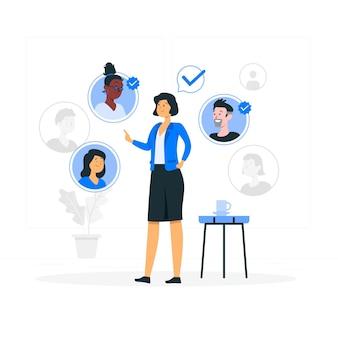 Selección de la ilustración del concepto de equipo