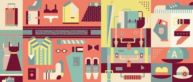 Selección de ilustraciones de ropa abstracta