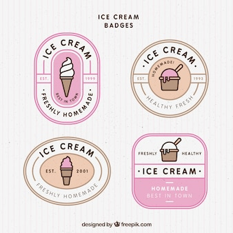 Selección de insignias vintage con helados sabrosos