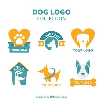 Selección de logos de perros naranjas y azules en diseño plano