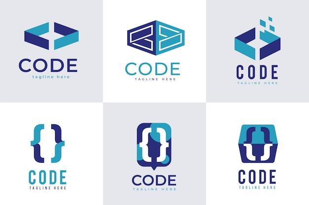 Selección de logotipo de código plano