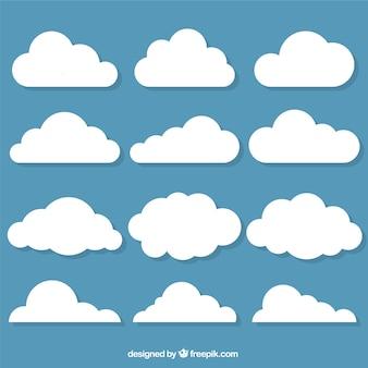 Selección de nubes decorativas en diseño plano