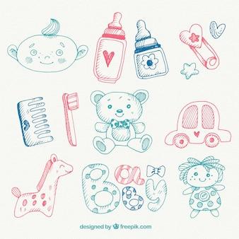 Selección de objetos de bebé dibujados a mano