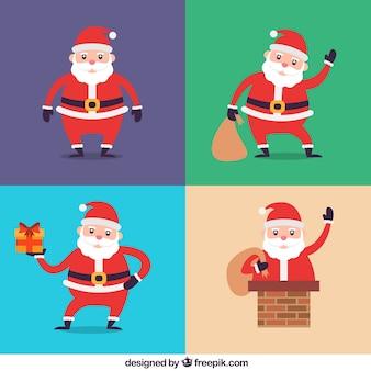 Selección de papá noel prepara para la celebración de navidad