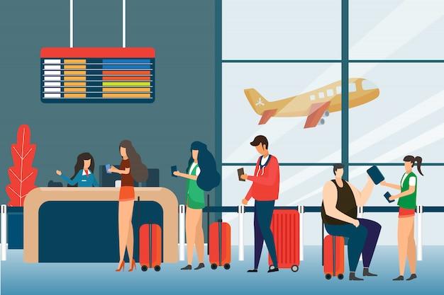 Selección de pasajeros, check in aeropuerto grupo de pasajeros de raza mixta de pie en la cola para contrarrestar, concepto de tablero de salidas diseño plano. viajes y turismo