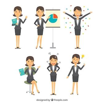 Selección plana de personaje de mujer de negocios con variedad de expresiones faciales