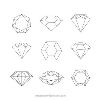 Selección plana de gemas preciosas decorativas