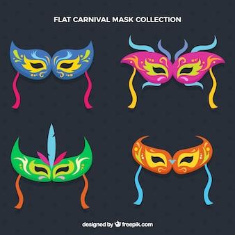 Selección plana de máscaras de carnaval con geniales diseños