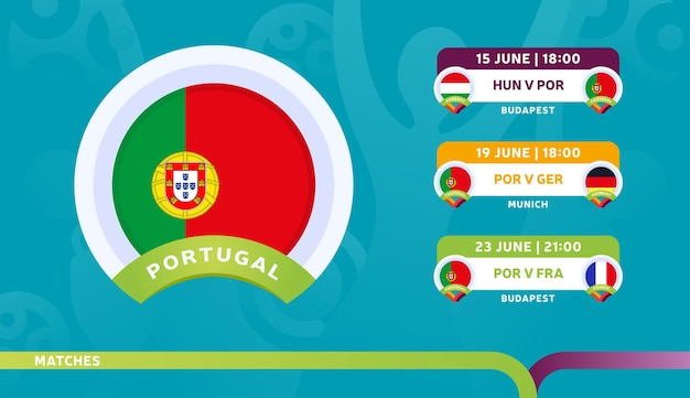 Selección de portugal calendario de partidos en la fase final del campeonato de fútbol 2020. ilustración de partidos de fútbol 2020.