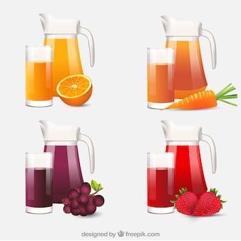 Selección realista de jarras y vasos con zumos de fruta
