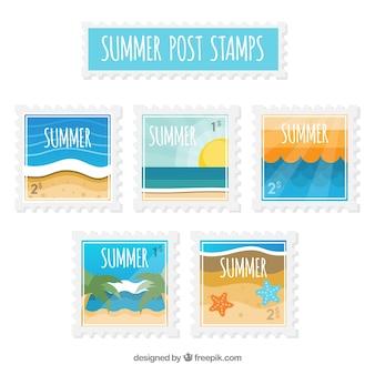 Selección de sellos postales veraniegos