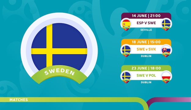 Selección de suecia calendario de partidos en la fase final del campeonato de fútbol 2020. ilustración de partidos de fútbol 2020.