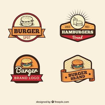 Selección vintage de logos de hamburguesas