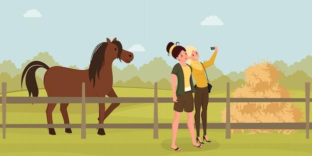Selfie de chicas en ilustración plana de granja. mujeres jóvenes fotografiando personajes de dibujos animados de caballos.