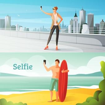 Selfie conjunto de ilustraciones horizontales