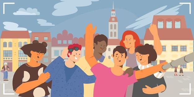 Selfie group en ciudad histórica
