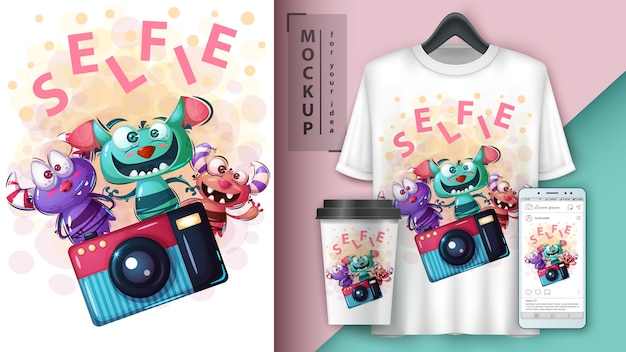 Selfie monster poster y merchandising