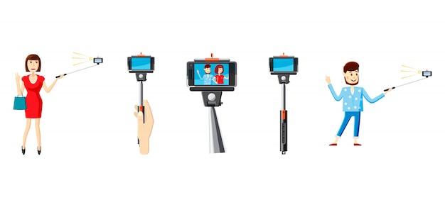 Selfie stick conjunto de elementos. conjunto de dibujos animados de palo selfie