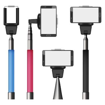Selfie stick móvil maqueta set