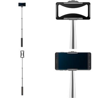 Selfie stick video foto móvil conjunto de maqueta. ilustración realista de 4 maquetas móviles de autofotos de palos autofotos para web
