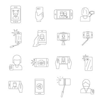 Selfie video foto personas iconos conjunto