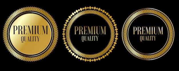 Selle insignias y etiquetas doradas de calidad premium premium
