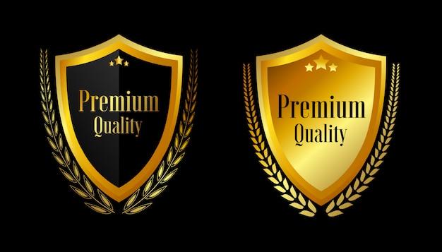 Selle insignias de oro y etiquetas de calidad premium