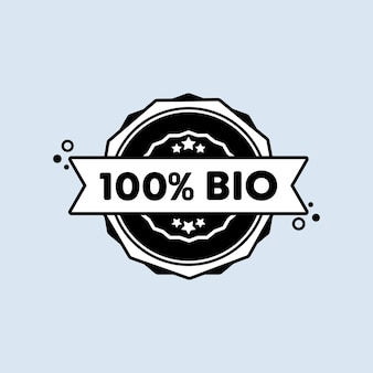 Sello 100% biológico. vector. icono de insignia 100% bio. logotipo de insignia certificado. plantilla de sello. etiqueta, etiqueta engomada, iconos. vector eps 10. aislado sobre fondo blanco.