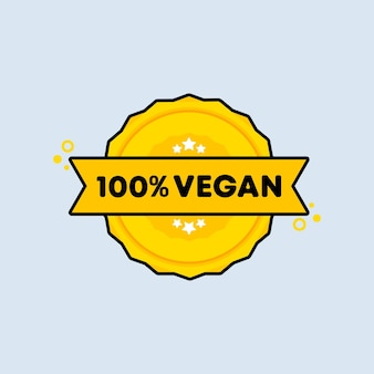 Sello 100% vegano. vector. icono de insignia 100% vegano. logotipo de insignia certificado. plantilla de sello. etiqueta, etiqueta engomada, iconos. vector eps 10. aislado sobre fondo blanco.